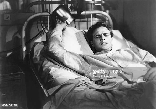 American actor Marlon Brando on the set of The Men directed by Fred Zinnemann