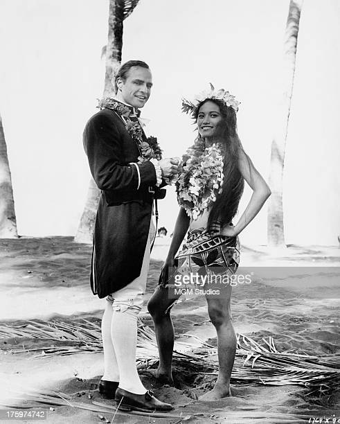 American actor Marlon Brando with French Polynesian actress Tarita Teriipia during location filming in the South Pacific for 'Mutiny on the Bounty'...