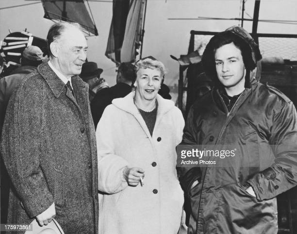 American actor Marlon Brando with his father Marlon Brando Sr and mother Dorothy circa 1950