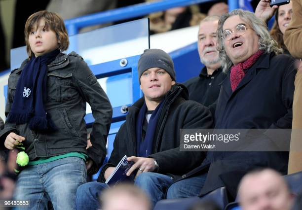American actor Matt Damon watches the Barclays Premier League match between Chelsea and Arsenal at Stamford Bridge on February 7 2010 in London...