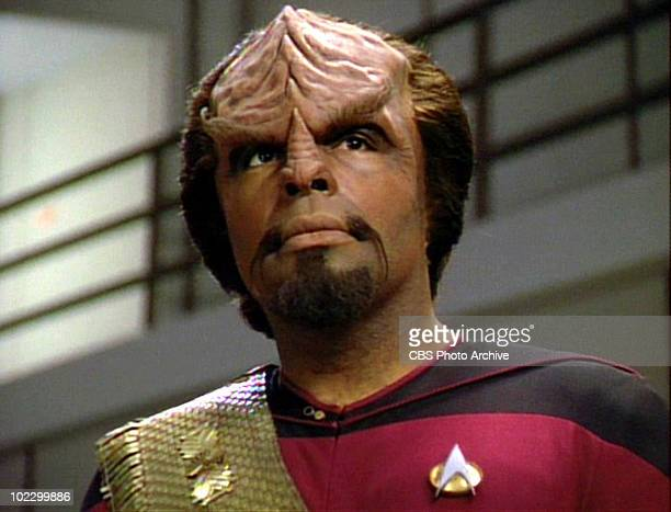 American actor Michael Dorn in a scene from the final episode of the television series 'Star Trak The Next Generation' entitled 'All Good Things' May...