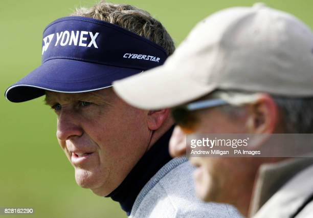 American Actor Michael Douglas with Colin Montgomerie during round one of the Dunhill Links Championships at Carnoustie Thursday September 29 2005...