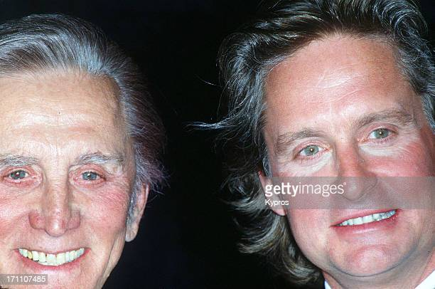 American actor Michael Douglas with his father Kirk Douglas circa 2000