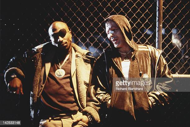American actor Mickey Rourke as a Jewish drug addict from Brooklyn and rapper Tupac Shakur as local drug dealer Tank in the film 'Bullet' 1996