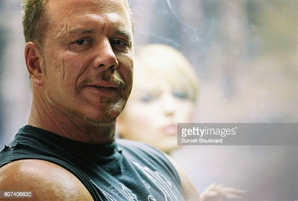 American actor Mickey Rourke on the set of Domino directed and produced by Tony Scott