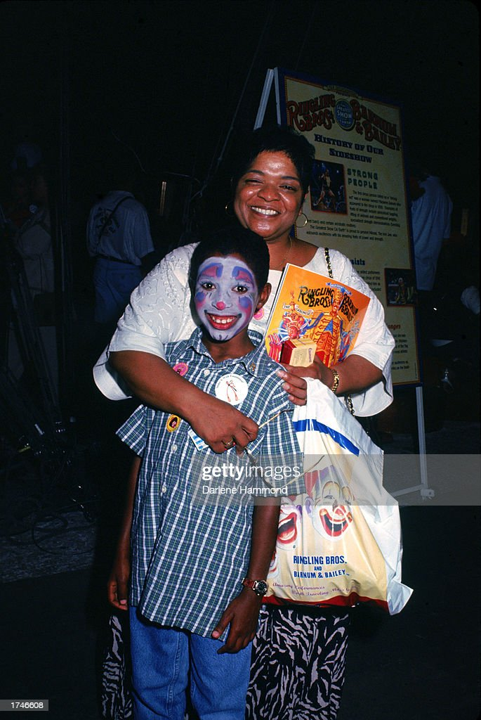 American actor Nell Carter (1948 - 2003) poses with her son Josh at the Ringling Brothers & Barnum and Baily Benefit Performance held at the L.A. Sports Arena, Los Angeles, California, July 22, 1998. Josh wears clown face paint.