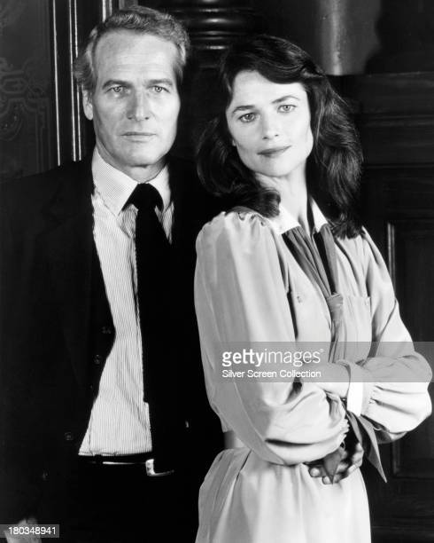 American actor Paul Newman as Frank Galvin and English actress Charlotte Rampling as Laura Fischer in a promotional portrait for 'The Verdict'...