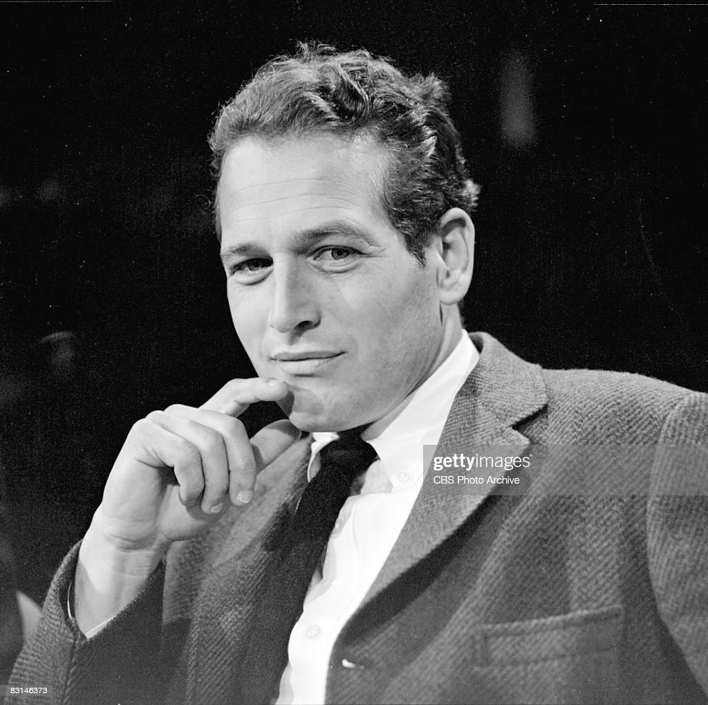 American actor Paul Newman (1925 - 2008) sits on the set of Sunday morning arts program 'Camera Three,' May 7, 1963.