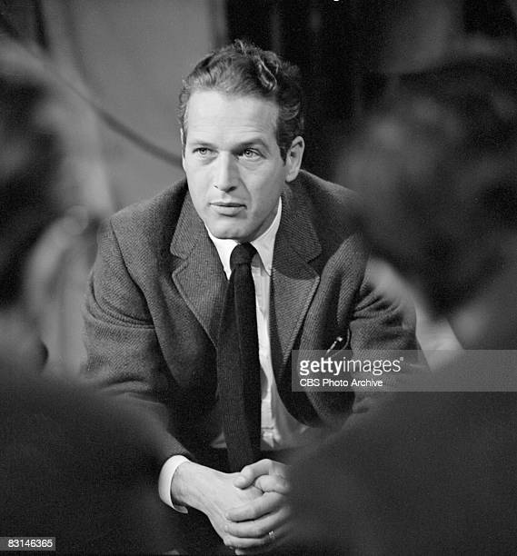 American actor Paul Newman sits with hands folded on the set of Sunday morning arts program 'Camera Three' May 7 1963
