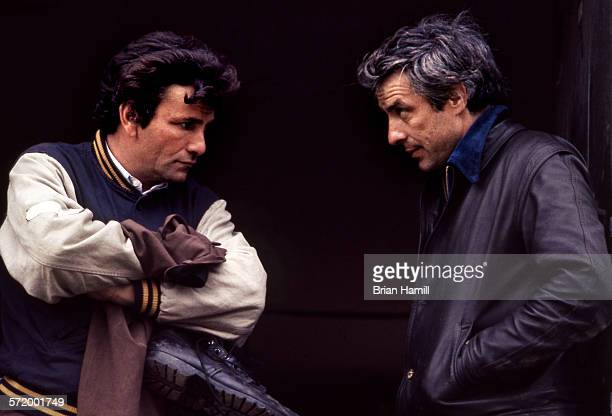 American actor Peter Falk and director John Cassevetes talk on the set of their film 'A Woman Under the Influence' 1974