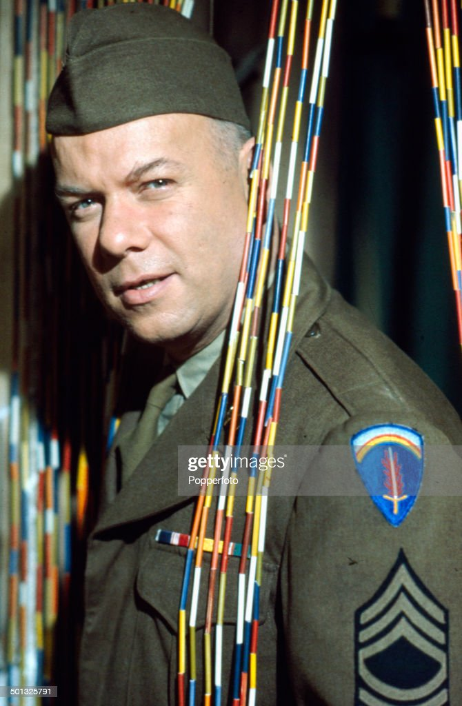 American actor Peter Graves (1926-2010) pictured dressed in military uniform on the set of the television series 'Court Martial' in 1966.