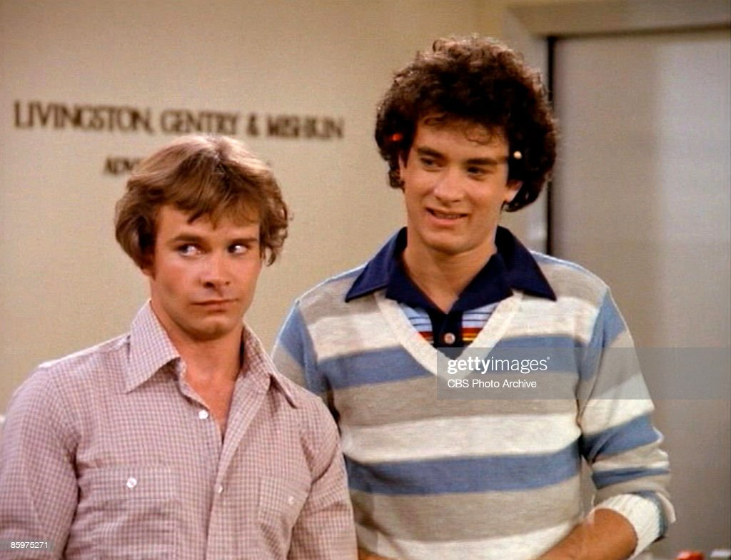 American actor Peter Scolari (left, as Henry Desmond) and actor Tom Hanks (as Kip Wilson) in a scene from the pilot episode of the television comedy series 'Bosom Buddies,' Los Angeles, California, November 27, 1980.