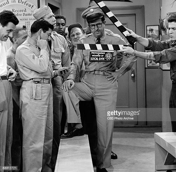 American actor Phil Silvers and cast members of 'The Phil Silvers Show ' tape an episode of the series August 1956 Included in the scene are actors...
