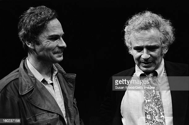 American actor Rip Torn talks with author Norman Mailer during the latter's visit the set of Gelber's production of the play 'The Kitchen' at the...
