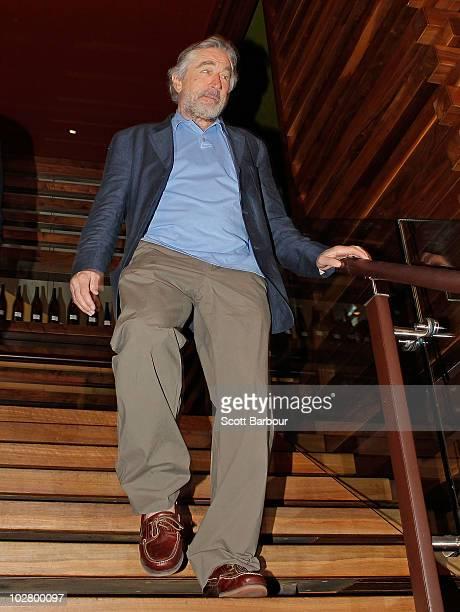 American actor Robert De Niro arrives for a media appearance at Nobu Restaurant on July 11 2010 in Melbourne Australia De Niro who coowns Nobu...