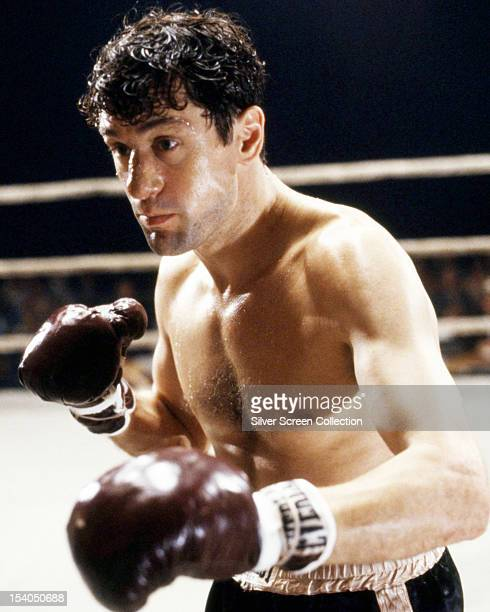 American actor Robert De Niro as Jake LaMotta in a fight scene from 'Raging Bull' directed by Martin Scorsese 1980