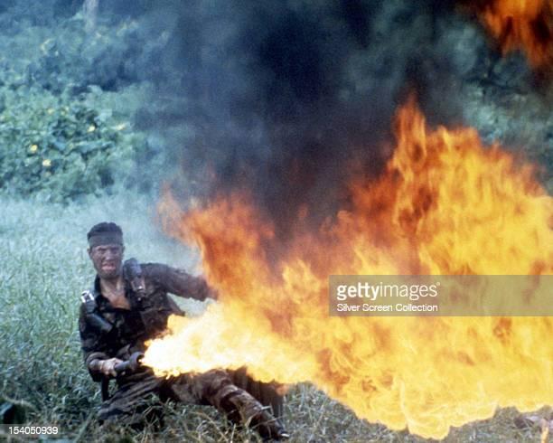 American actor Robert De Niro as Michael Vronsky using a flamethrower in 'The Deer Hunter' directed by Michael Cimino 1978