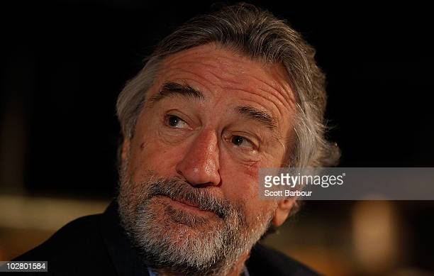 American actor Robert De Niro looks on during a media appearance at Nobu Restaurant on July 11 2010 in Melbourne Australia De Niro who coowns Nobu...