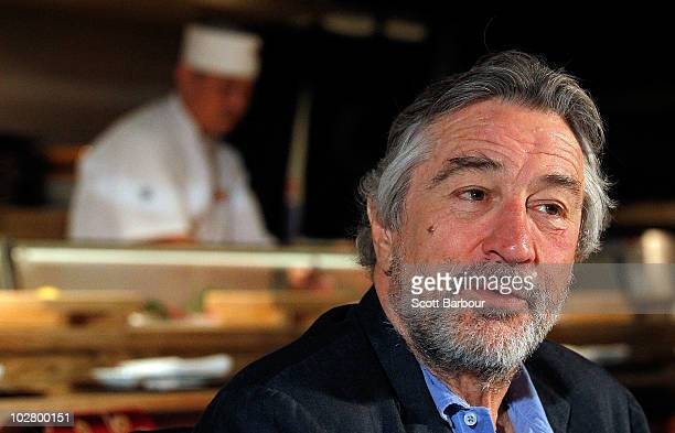 American actor Robert De Niro talks during a media appearance as a chef cooks at Nobu Restaurant on July 11 2010 in Melbourne Australia De Niro who...