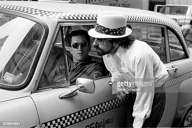 Martin Scorsese and Robert De Niro during the filming of Taxi Driver