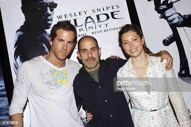 American actor Ryan Reynolds writer/director David S Goyer and actress Jessica Biel make an instore appearance to promote the movie 'Blade Trinity'...