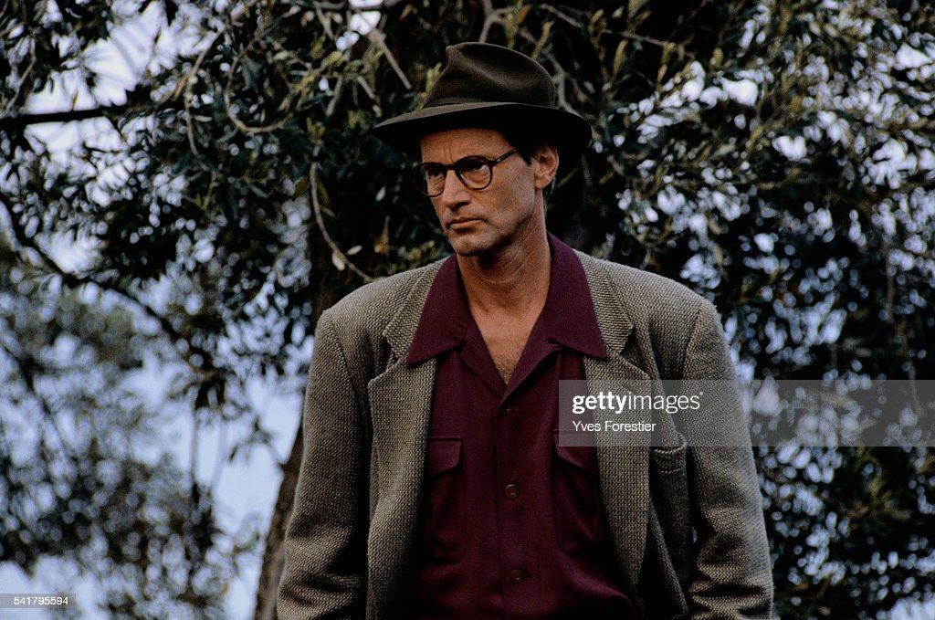 American actor Sam Shepard (1943 - 2017) on the set of 'Homo Faber' (aka 'Voyager'), directed by Volker Schlöndorff, 1991.