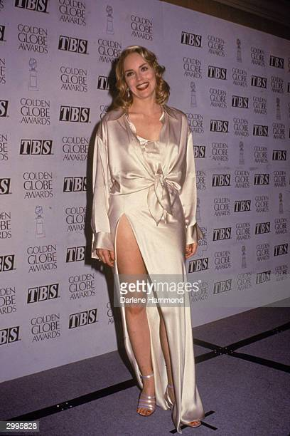 American actor Sharon Stone poses for photographers at the Golden Globe award ceremony Beverly Hilton Hotel Los Angeles California January 21 1996...