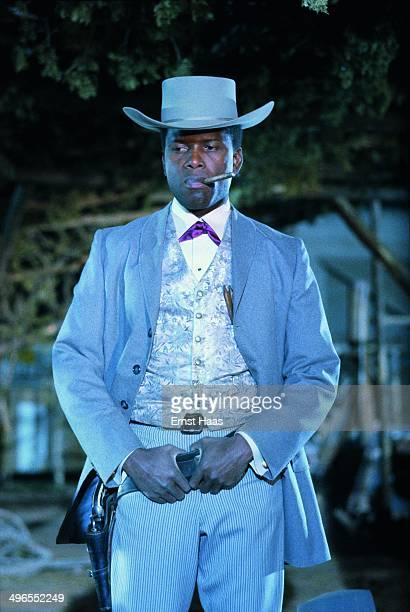 American actor Sidney Poitier on the set of the film 'Duel at Diablo' 1966