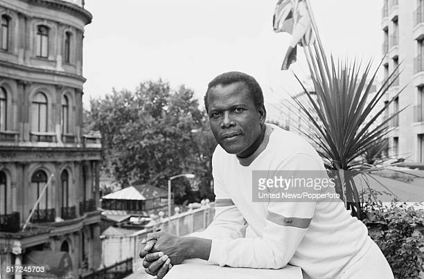 American actor Sidney Poitier posed on a balcony in London on 8th September 1980
