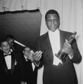 American actor Sidney Poitier with his Oscar after he won the Academy Award for Best Actor in a Leading Role at the Beverly Hilton Hotel in Hollywood...