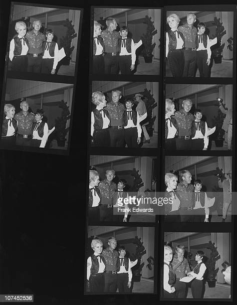 American actor Steve McQueen and his wife actress Neile Adams attend a SHARE charity party with actress Janet Leigh USA 1967