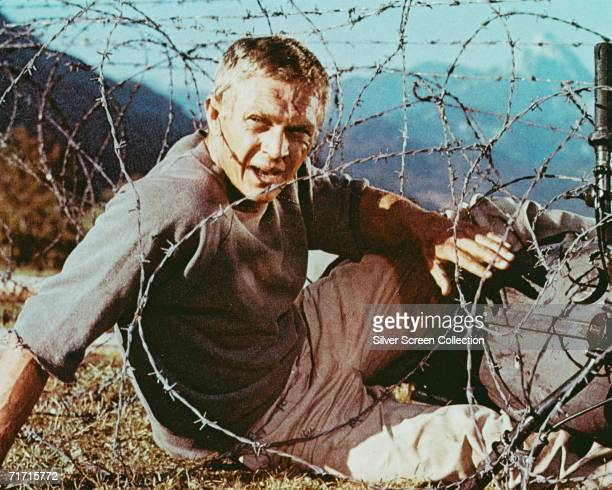American actor Steve McQueen as Captain Virgil 'The Cooler King' Hilts in World War II drama 'The Great Escape' 1963