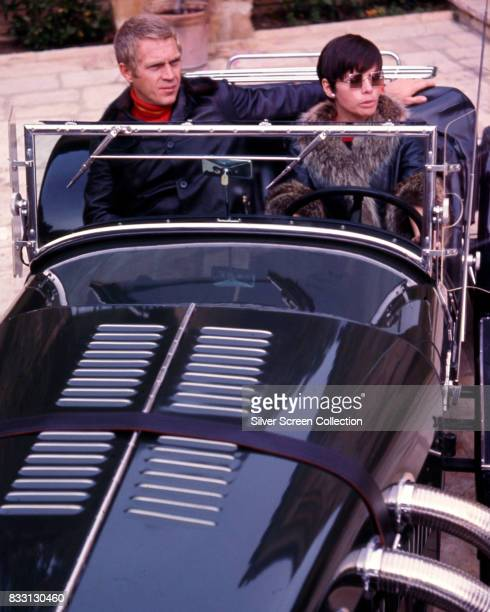 American actor Steve McQueen with his wife Filipinoamerican actress Neile Adams in her Excalibur car Beverly Hills 1970