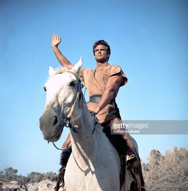 American actor Steve Reeves on the set of Romolo e Remo written and directed by Sergio Corbucci