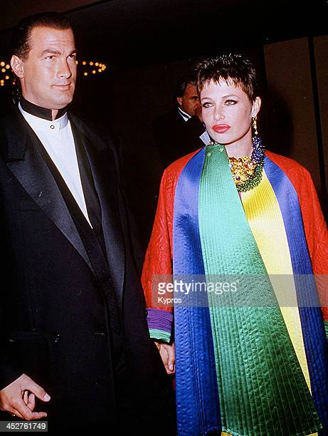 American actor Steven Seagal with his wife actress and fashion model Kelly LeBrock circa 1991