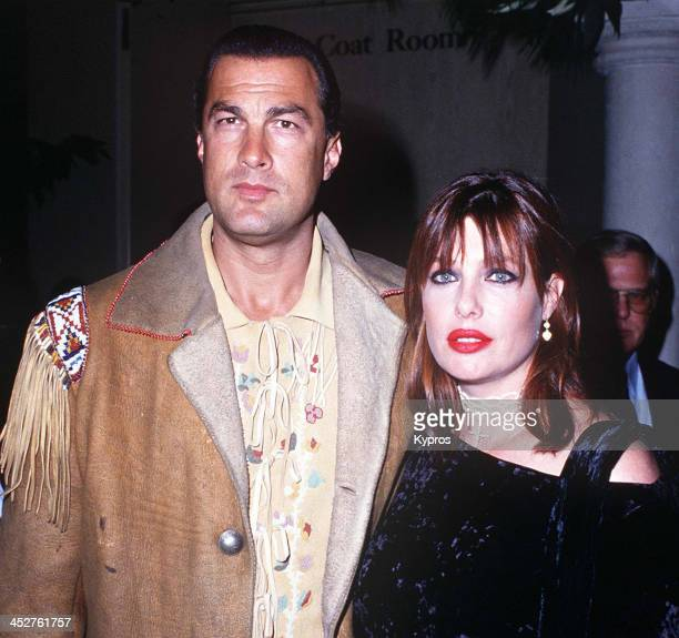 American actor Steven Seagal with his wife model and actress Kelly LeBrock circa 1992