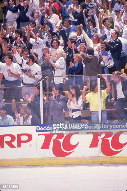 American actor Sylvester Stallone attends an LA Kings ice hockey game at the Forum Los Angeles California 1990s