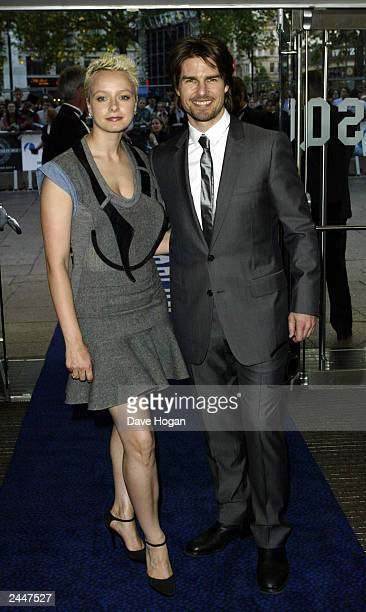 American actor Tom Cruise and American actress Samantha Morton arrive for the UK premiere of his movie 'Minority Report' at the Odeon Cinema...