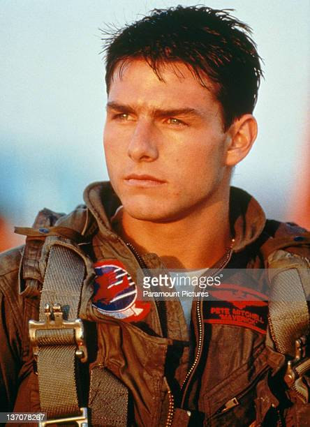 American actor Tom Cruise as Lieutenant Pete 'Maverick' Mitchell in a promotional portrait for 'Top Gun' directed by Tony Scott 1986
