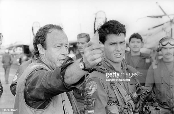 American actor Tom Cruise with British director Tony Scott on the set of his movie Top Gun