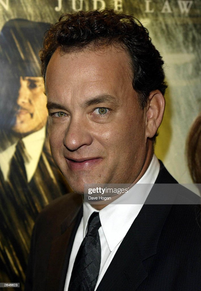 American actor <a gi-track='captionPersonalityLinkClicked' href=/galleries/search?phrase=Tom+Hanks&family=editorial&specificpeople=201790 ng-click='$event.stopPropagation()'>Tom Hanks</a> arrives at the premiere party for the film 'Road to Perdition' at Claridge's on September 18, 2002 in London.