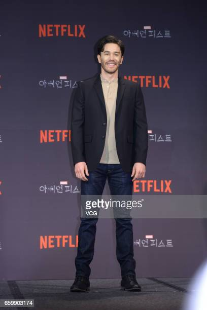 American actor Tom Pelphrey attends a press conference of American web television series 'Marvel's Iron Fist' on March 29 2017 in Seoul South Korea