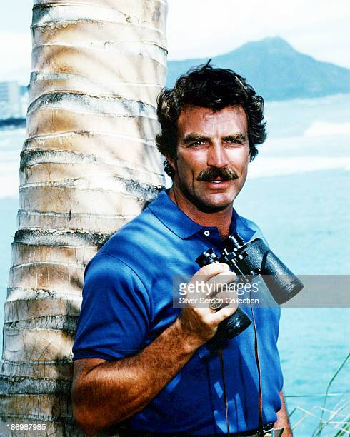 American actor Tom Selleck as he appears in the TV series 'Magnum PI' circa 1985