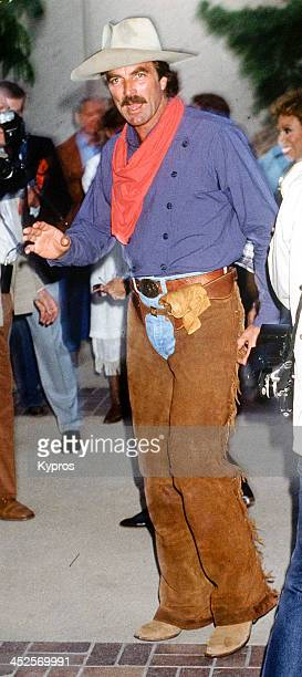 American actor Tom Selleck in a cowboy outfit circa 1990