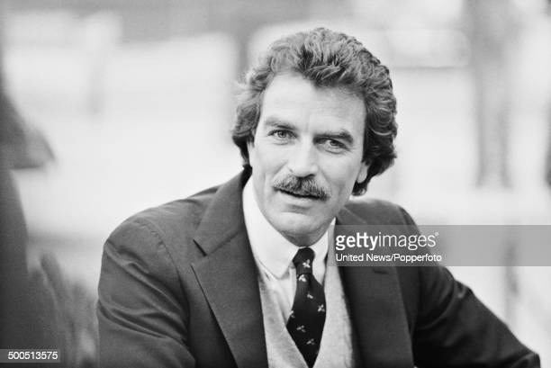 American actor Tom Selleck known for his role as Thomas Magnum in the television series Magnum PI posed in London on 2nd May1985
