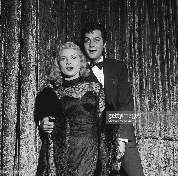American actor Tony Curtis with his wife actress Janet Leigh at the Los Angeles premiere of the film 'A Star is Born' USA 29th September 1954