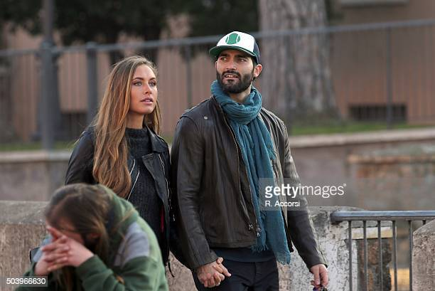 American actor Tyler Hoechlin and German model Alena Gerber sighted holding hands at Colosseum on December 20 2015 in Rome Italy
