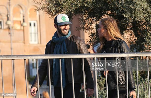 American actor Tyler Hoechlin and German model Alena Gerber sighted at Colosseum on December 20 2015 in Rome Italy