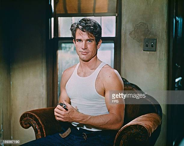 American actor Warren Beatty as Clyde Barrow on the set of the crime drama 'Bonnie and Clyde' 1967