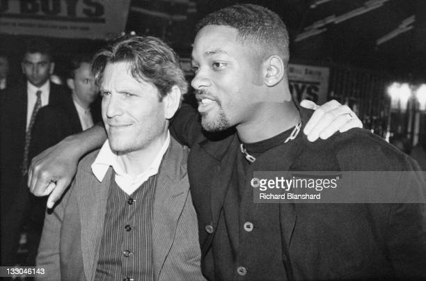 American actor Will Smith with costar Tcheky Karyo at a screening of the film 'Bad Boys' 1995